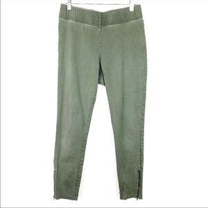 LOFT Outlet Lounge Green Pull On Zipper Ankle Pant